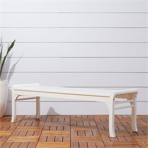 Backless Outdoor Bench in White