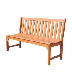 Vifah Malibu Armless Outdoor Bench in Natural