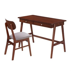 Techni Mobili Modern Desk and Chair Set in Mahogany and Gray