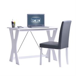 Techni Mobili Modern Matching Desk and Chair Set in White and Gray