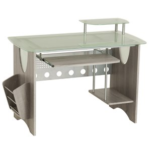 Techni Mobili Glass Top Storage Computer Desk in Gray