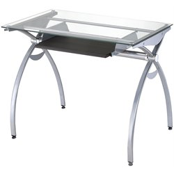 TECHNI MOBILI Alterna Glass Top Metal Computer Desk