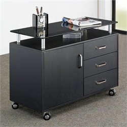 Techni Mobili Seguro Mobile Lateral 3 Drawer Wood Storage Cabinet in Graphite
