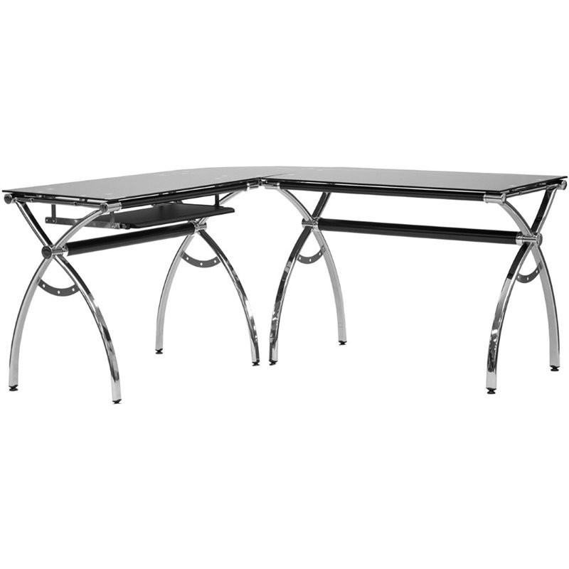 Techni Mobili L-Shaped Glass Desk with Chrome Frame in Black
