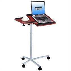 Techni Mobili Adjustable Mobile Laptop Cart in Mahogany