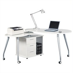 Techni Mobili Computer Desk in White