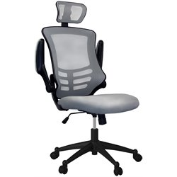 Techni Mobili Executive High Back Chair with Headrest in Silver Grey