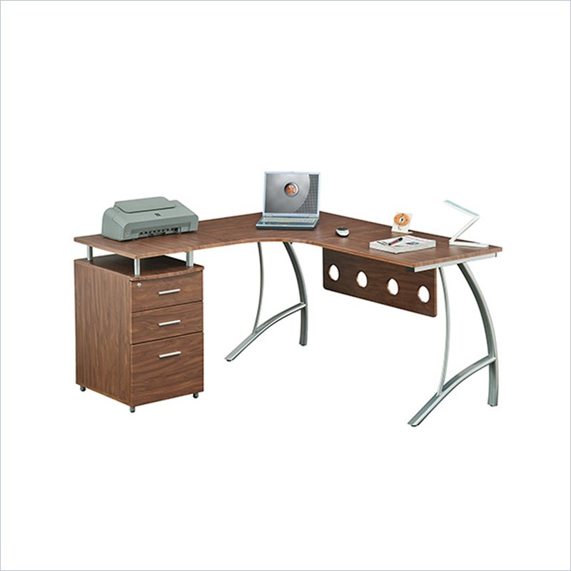 L-Shape Corner Desk with File Cabinet and Privacy Panel