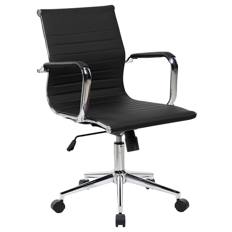Modern Task Chrome Chair in Black