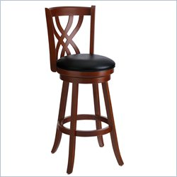 Techni Mobili Wooden Designer Swivel Bar Stool in Mahogany