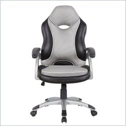 Techni Mobili High Back Racer Series Two Tone Chair in Black and Grey