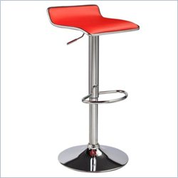 Techni Mobili Swivel Adjustable Bar Stool in Red Chrome (Set of 2)