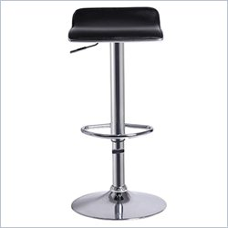 Techni Mobili Swivel Adjustable Bar Stool in Black Chrome (Set of 2)