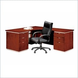 DMi Pimlico Veneer Executive 66 in. Right L-Shaped Desk in Bronze Cherry (Assembled)