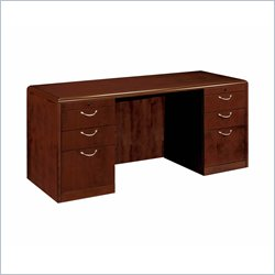 DMi Summit 72 in. Wood Kneehole Credenza in Cherry (Flat Pack) - Reeded Edge