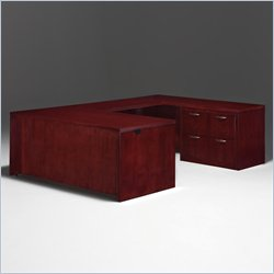 DMi Summit Right Lateral File U-Shape Wood Executive Desk in Cherry (Flat Pack)