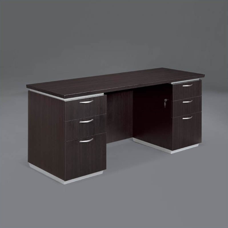 DMi Pimlico Laminate 66 in. Wood Kneehole Credenza in Mocha(Assembled)