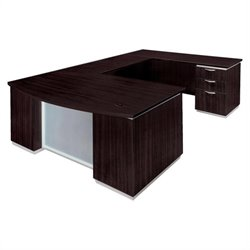DMi Furniture Pimlico Laminate Executive Right Bow Front U-Shaped Desk (Flat Pack)