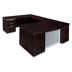 DMi Furniture Pimlico Laminate Executive Left Bow Front U-Shaped Desk (Flat Pack)
