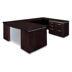 DMi Furniture Pimlico Laminate Right Wood Bow Front U-Shaped Desk (Assembled)