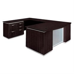 DMi Pimlico Laminate Left Personal File Wood Bow Front U-Shape Desk (Flat Pack)