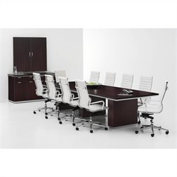 DMi Furniture Pimlico Laminate 12' Boat Shaped Conference Table - Mocha
