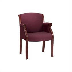 DMi Furniture Seating Traditional Guest Chair in Burgundy Fabric - Executive Mahogany
