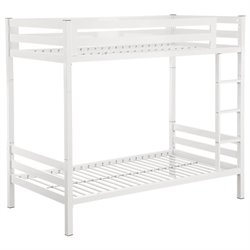 Walker Edison Twin over Twin Bunk Bed in White