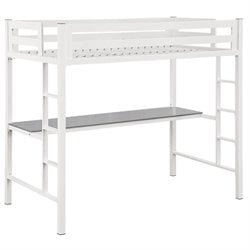 Walker Edison Twin Loft Bed with Desk in White