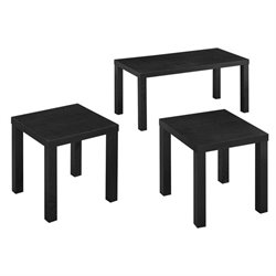 Walker Edison 3 Piece Coffee Table Set in Black