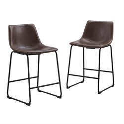 Faux Leather Bar Stool in Brown