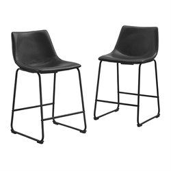 Walker Edison Faux Leather Bar Stool in Black (Set of 2)