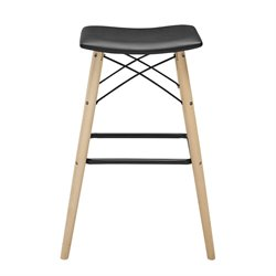 Walker Edison Faux Leather Bar Stool in Black