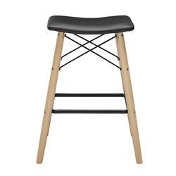 Faux Leather Bar Stool in Black CHRM