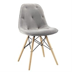 Walker Edison Upholstered Eames Dining Chair in Gray (Set of 2)