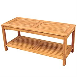 Walker Edison Acacia Wood Patio Coffee Table in Brown
