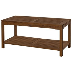 Solid Acacia Wood Outdoor Patio Coffee Table in Dark Brown