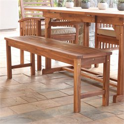 Walker Edison Acacia Wood Patio Bench in Brown