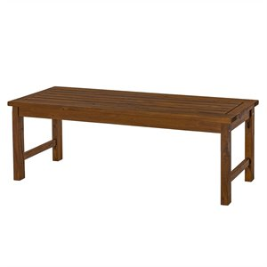 Acacia Wood Patio Bench in Dark Brown