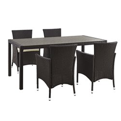 Walker Edison angelo HOME 5 Piece Rattan Patio Dining Set in Brown