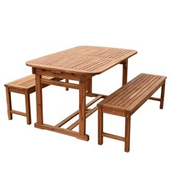 Walker Edison 3 Piece Acacia Patio Dining Set in Brown