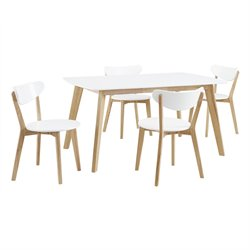 Walker Edison 5 Piece Wood Dining Set in White and Natural