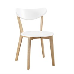 Walker Edison Dining Chair in White and Natural (Set of 2)