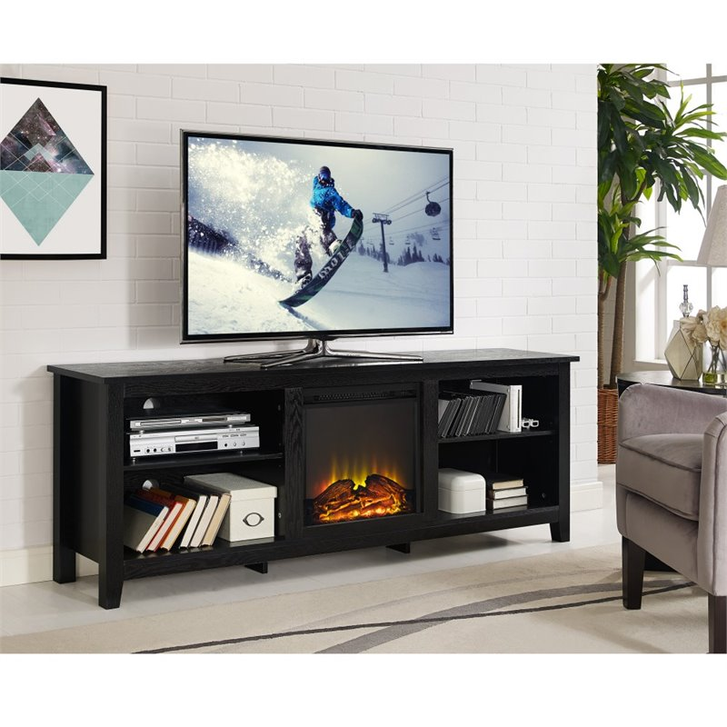Walker Edison 70 Quot Wood Fireplace Tv Stand In Black W70fp18bl