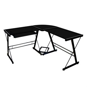 Corner L Shaped Glass Top Computer Desk in Black
