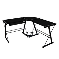 Walker Edison Soreno Corner L Shaped Glass Top Computer Desk in Black