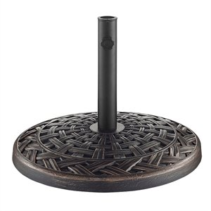 Round Cross Weave Umbrella Base in Antique Bronze