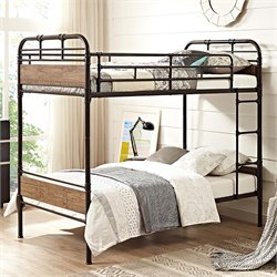 Walker Edison Twin Over Twin Metal and Wood Bunk Bed in Black