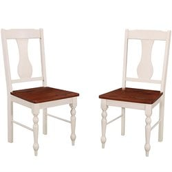 Walker Edison Solid Wood Turned Leg Dining Side Chair (Set of 2)