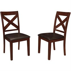 Walker Edison Wood X Back Dining Side Chair in Espresso (Set of 2)